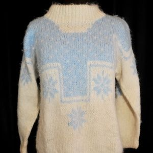 Handmade Mohair Wool Sweater Size MED Snowflakes